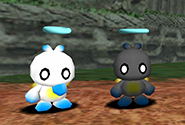 A regular Hero Chao and a Black Hero Chao
