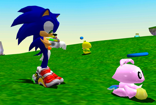 A Chao eating in the Hero Garden