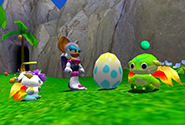 A Chao egg next to some other Chao