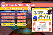 Beginner Race menu