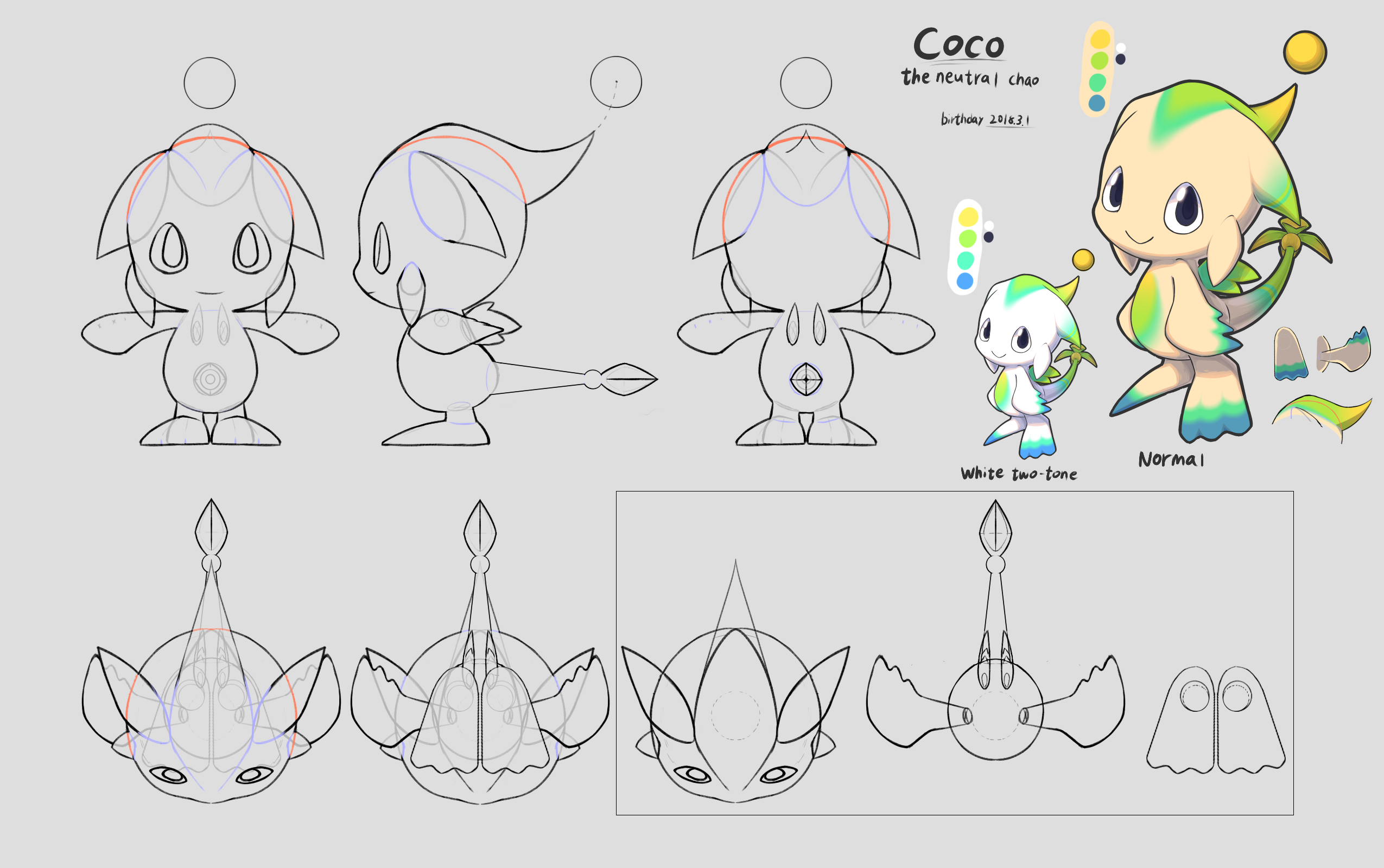 The full reference sheet by Yimoo, so you can make your own Coco!