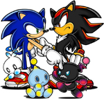 Sonic and Shadow surrounded by different Chao.